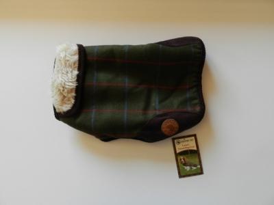 Hundewintermantel Tweed grün-kariert